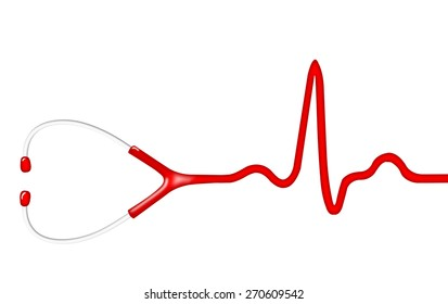 Electrocardiogram (ECG, heart monitor) with stethoscope head. Illustration