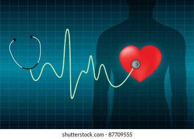electrocardiogram with stethoscope isolated in blue background