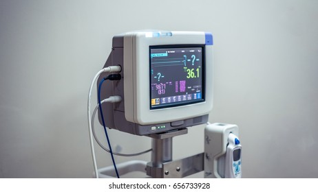Electrocardiographic Monitoring (ECG) Device In Operating Room Hospital