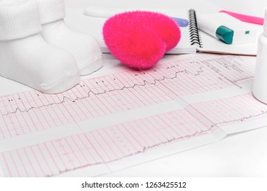 Electrocardiography, close-up. Notebook pregnant. The result of consulting a doctor. Expectations baby.
