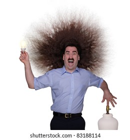Electrocuted long haired man changing a lightbulb