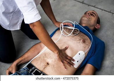 Electrodes placed on a patient