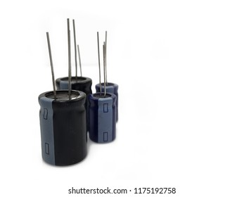electrolytic capacitor in blue isolated on white background