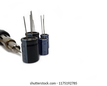 electrolytic capacitor  isolated on white background