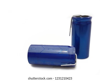 electrolytic capacitor  on white background.