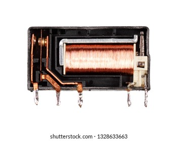 Electromagnetic relay without protection cap isolated on white background