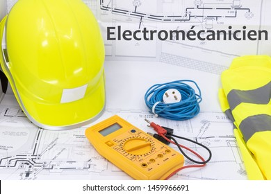 Electromechanic Graphic Resource with Home Plan Safety Equipment and Electrical Equipment (Electromécanicien is Electromechanic ingeneer written in French)