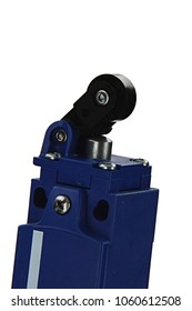 Electromechanical pulley lever terminal switch, also named end limit switch in dark blue plastic chassis on white background