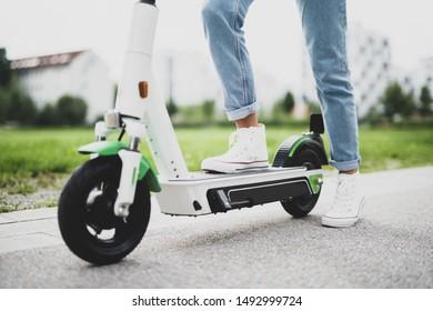 Electromobility, driving an  environmentally friendly e-scooter