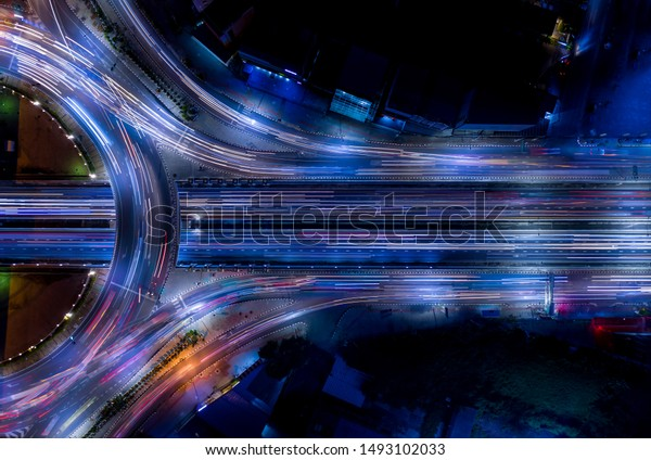 Electron of Traffic circle light tail that show it is a life build of infrastructure road and economic system transportation and communication