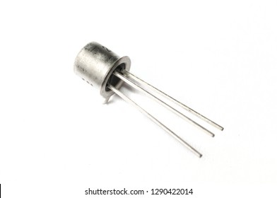 Electronic 2n2222A metal transistor on white background