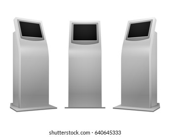 Electronic advertising stand display interactive kiosk with touchscreen illustration. Mockup terminal with info service