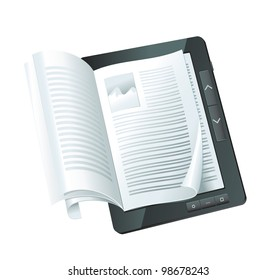 electronic book concept - raster illustration