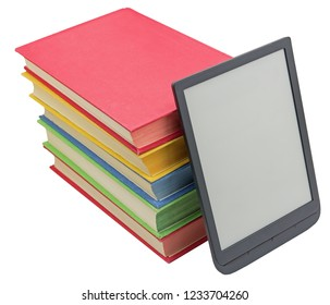 Electronic book reader and books on white background