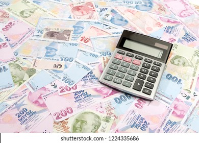 Electronic calculator on variety of Turkish lira for inflation in Turkey concept.