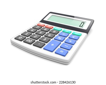 Electronic calculator on a white. 3d image