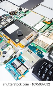 electronic chip close-up on a disassembled mobile phone
