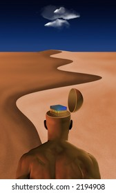 Electronic chip revealed in head