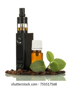 Electronic cigarette, the bottle with liquid, next to scattered grains of coffee isolated on white background