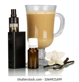 Electronic cigarette, cappuccino Cup, Orchid flower and vanilla pod, isolated on white