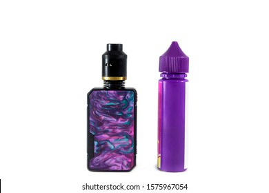 Electronic cigarette and e-liquid on a white background. Drag 2 and e juice bottle. Vape shop concept.