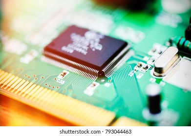 Electronic circuit board close up . Abstract background pattern .