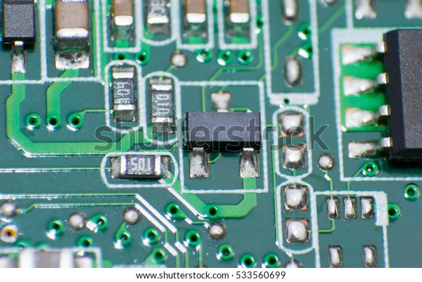 Electronic circuit board close up with chips processor