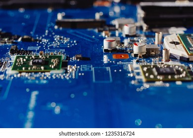 Electronic circuit board. Computer hardware, upgrade and technology. Selective focus