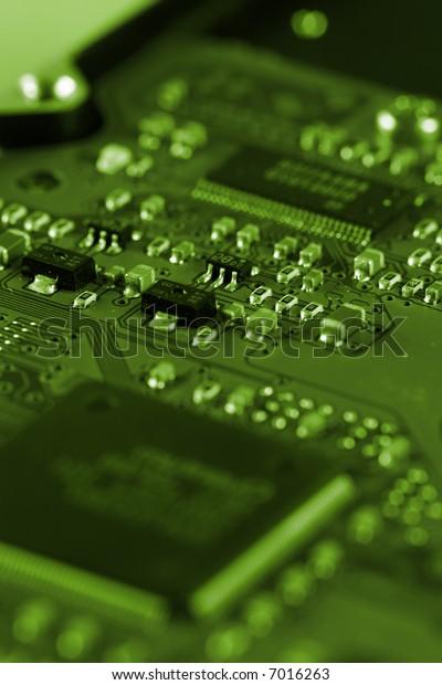 Electronic circuit board. Macro photo. Great details !
