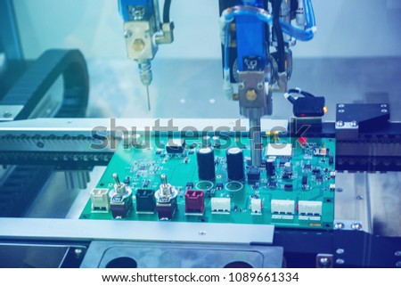 Electronic Circuit Board Manufacturing Stock Photo (Edit Now
