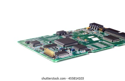Electronic circuit board or PCB with chips and other components.