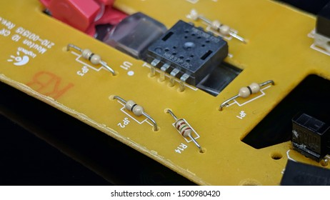 Electronic circuit board, Resistor, used for wallpaper, used as illustrated book, macro shot. Indonesia, 11 September 2019