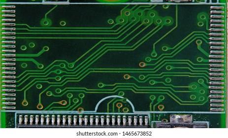 Electronic circuit chip closeup Focus on details profile