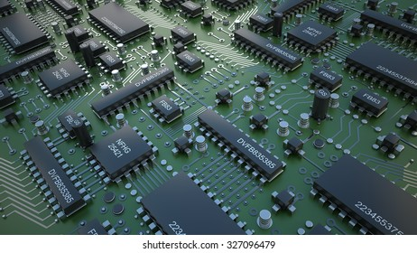 Electronic circuit chip on PC board. close up Technology background. High resolution 3d render