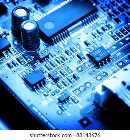 electronic circuit close-up. Macro background