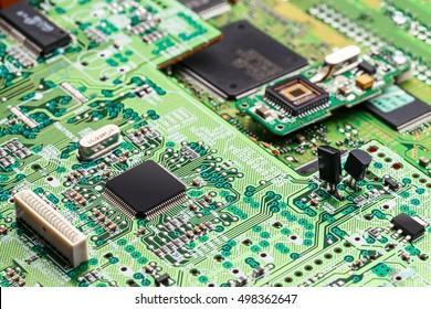 Electronic circuit,  microchip on green board