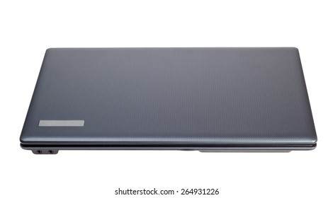 Electronic collection - Closed modern laptop top view isolated on a white background