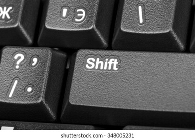 Electronic collection - close-up black computer keyboard with russian letter and key shift