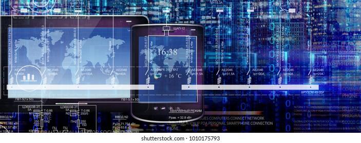 electronic communication technology 3d rendering illustration