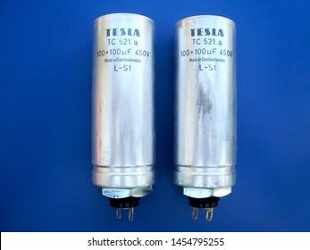 Electronic Components 9 – Capacitor TESLA 100uF+100uF 450V Aluminum Oxide Electrolytic, Montana, Bulgaria, December 12, 2013