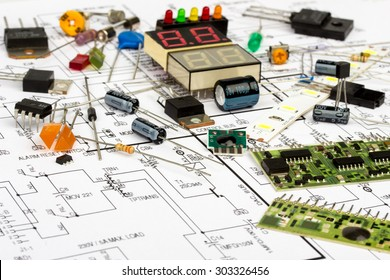 Electronic components, electronic diagram,  transistors, integrated circuits, capacitors, resistors, LED