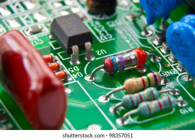 Electronic components mounted on a computer motherboard