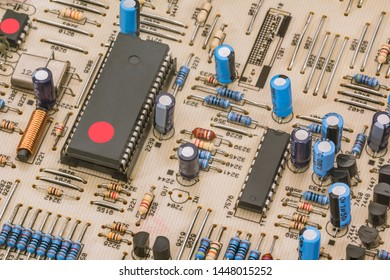 Electronic Components On Vintage Circuit Board Detail