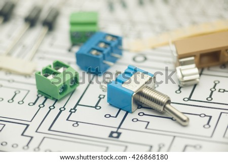 Electronic Components PCB Design Stock Photo (Edit Now