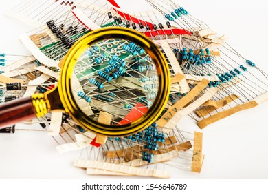 Electronic components, resistors under a magnifying glass