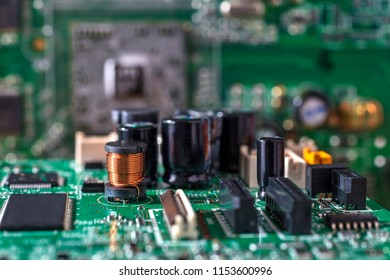 Electronic computer hardware technology. Motherboard digital chip. Tech science background. Integrated communication processor. Information engineering component. Selective focus