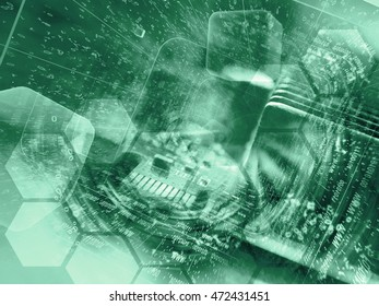 Electronic device and digits - abstract computer background in greens.