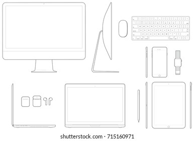 Electronic device technical illustration line drawings, each drawn to scale and located on separate layers.