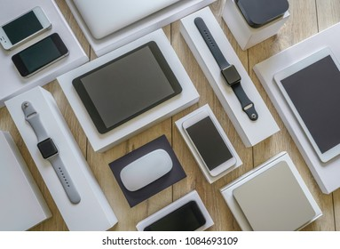 Electronic devices - computer, tablet, computer mouse, disc drive,  smartphone and smart watch . Technology mock up