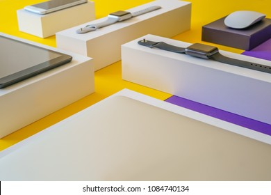 Electronic devices- computer, tablet, computer mouse, smartphone and smart watch . Technology mock up. Colorful background,